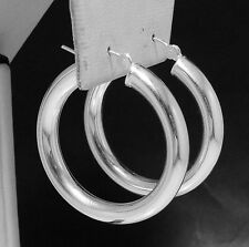"1"" 5mm Bold Thick Shiny Hoop Earrings Real 925 Sterling Silver QVC"