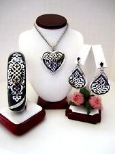 """Brighton """"SOPHIA"""" Heart Necklace-Earring-Bracelet Set (MSR$254) NWT/Pouch"""