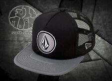 NEW Volcom Coast Cheese Mens Black Gray Snapback Trucker Cap Hat
