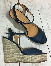 Nine West FLAWLESS Blue Platform Wedge Heel Espadrille Sandals Shoes Size 7 1/2