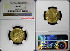 French West Africa 1944 1 Franc NGC MS61 Laureate Head KM# 2