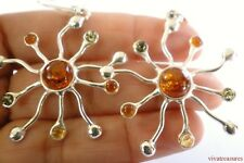 Poland Baltic Amber Starburst 925 Sterling Silver Dangle Earrings