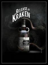 Kraken Spiced Rum, Retro Vintage Aluminium Sign Bar/Pub/Club, Alcohol.