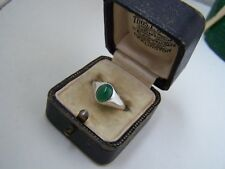 VINTAGE SOLID STERLING SILVER CHRYSOPRASE CABOCHON GYPSY PINKY RING SIZE L 6