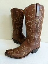 Lucchesse  Cowboy Boots Embroidered Brown Leather Womens 6B