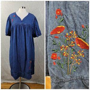 Vintage Plus Size 2X 18/20 Overall Dress Jean Denim Floral Embroidered Muumuu