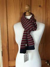 Seasalt Merino Wool Stripe Burgundy Nancarrow Scarf Brand New With Tags