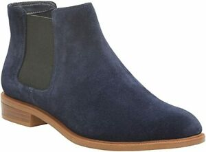 Clarks BNIB Ladies Chelsea Ankle Boots TAYLOR SHINE Navy Suede UK 4 / 37