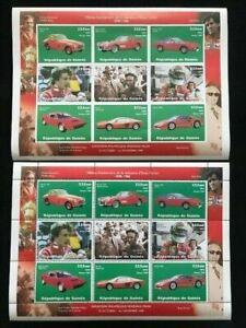 Rep. De Guinee Guinea FERRARI team cars 2x MNH Sheets perf &imperf [D1060a]