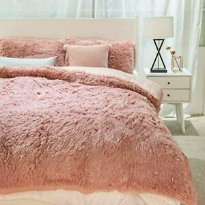 Plush Shaggy Duvet Cover 3 Piece Bedding Set Hotel Collection- King Size Luxury