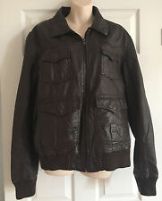 MENS River Island Leather Brown Jacket Size L
