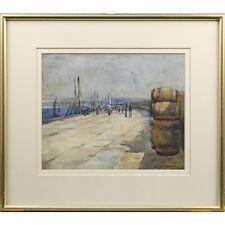 Original Antique Signed Framed Harbour Landscape Watercolour Painting 41 x 38 cm