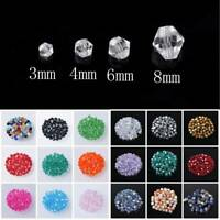 Wholesale 3mm~8mm Bicone Faceted Crystal Glass Loose Spacer Beads Jewelry Making