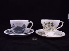 TWO CABINET TEA CUP AND SAUCER WHITE UPPER CANADA VILLAGE DUCHESS VANCOUVER BC