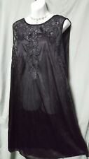 """VENTURA 46"""" LONG SEXY BLACK LACE NYLON NIGHTGOWN SIZE 5X GIFT 68"""" BUST"""