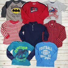 Lot of 8 Boys T-Shirts Button Down Sweatshirt Batman Spiderman Toddler Size 4T