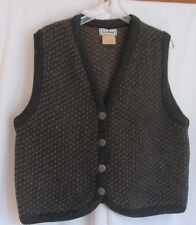 L.L. BEAN WOOL RAYON BLEND VEST IN GRAY & BROWN MADE IN NORWAY WOMEN'S SZ LG