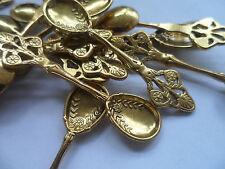 10 X Craft Spoons Antique Gold 60x16mm Charm Jewellery Scrapbooking Christening