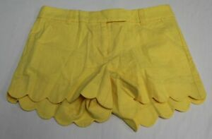 "J.Crew Women's 4"" Linen-Cotton Scalloped Hem Short KB8 Yellow Size 4 NWT"