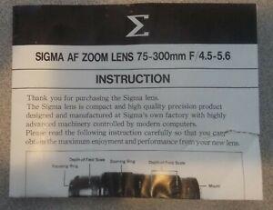 Sigma Af Zoom Lens 75-300mm f/4.5-5.6 Manual Guide Instructions