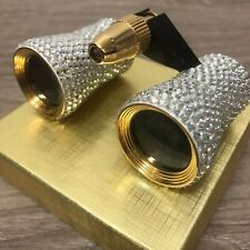 Pave Set Clear Crystal Theater Opera Binoculars with Travel Pouch