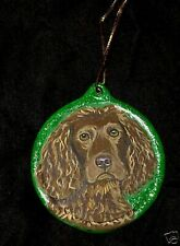 American Water Spaniel Dog Christmas Ornament Decoration Hand Painted Ceramic