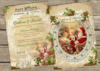 PERSONALISED VINTAGE POSTCARD CHRISTMAS WEDDING INVITATIONS PACKS OF 10