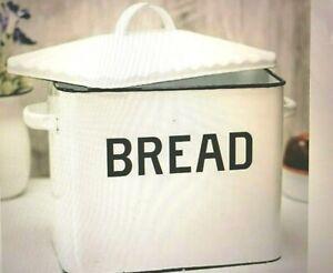 Vintage-Style Enameled Bread Box White Metal Bin Enamelware Retro-Look