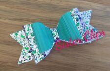 """Girls Handmade green & silver mix glitter 4"""" bow hair clip"""