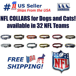 NFL Dog Collar - Heavy-Duty, Durable & Adjustable Football Collar for Dogs/ CATS