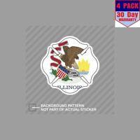 Illinois Maltese Cross Fire Firefighter 4 Stickers 4x4 Inch Sticker Decal