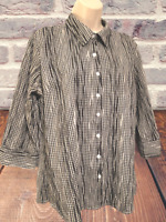 Croft & Barrow Women's Size L Checkered 3/4 Sleeve Button Down Shirt