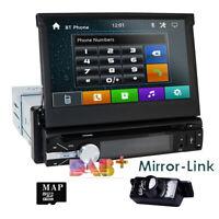 "Single One DIN 7"" HD Car CD DVD Player GPS SAT NAV Bluetooth Stereo DAB+ Radio"