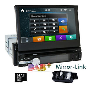 "7""Touch Screen 1Din Flip Up Car DVD CD Player GPS Sat Nav Radio Bluetooth Audio"