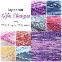 Stylecraft LIFE CHANGES DK Acrylic + Wool Variegated Knitting Yarn 100g