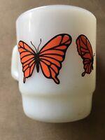 Vintage Anchor Hocking Fire-King #312 Orange Monarch Butterfly Milk Glass Mug