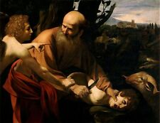 Oil painting Sacrifice of Isaac Caravaggio elder young man angel goat hand paint