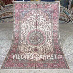 Yilong 5'x8' Pink Handwoven Silk Carpet Medallion Handmade Area Rug 407B
