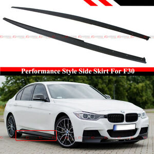 For 12-18 BMW F30 F31 3 Series Sedan M Sport Black Side Skirt Extension Splitter