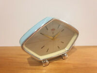 "Vintage ""Polaris"" Art Deco Blue Metal Desk/Bedside Alarm Clock (Glow in Dark)"