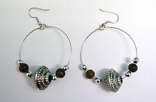 Boucles d'oreilles pendante acier et bois monture acier inox wo38