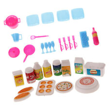 30pcs Kitchen Accessories Food Dishes & Cutlery Set for Barbie Dolls Toys