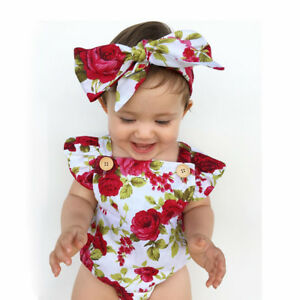 New New born Baby Girl Kids Tops Romper+Scarf Headband Outfits Clothes Set