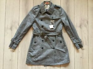 NEW original BURBERRY women Wool Gray color trench coat Size L ( IT - 40 )