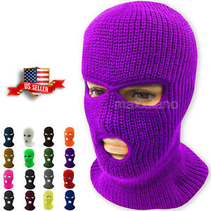 Face Mask Ski Mask Winter Cap 3 Hole Balaclava Beanie Hat Hood Tactical Warm Men