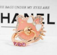 Cute Rhinestone Hello Kitty 360 Rotating Finger Ring Stand Holder For Cell Phone