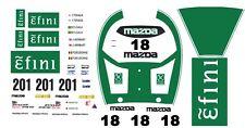 #201 / #18 Efini Mazda 787B 1991 1/43rd Scale Slot Car Decals
