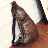 Men Vintage Leather Sling Crossbody Bag Chest Travel Shoulder Daypack Backpack