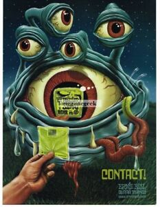 2002 ERNIE BALL Slinky Guitar Strings Blue Four-Eyed Alien Contact Vintage Ad