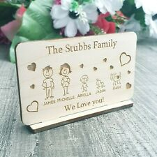 Personalised Family Plaque Gift For Mum Dad Grandad Granpa Wooden Christmas